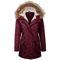 KOGMO Womens Long Anorak Coat Fur Trim Hoodie Jacket with Fuax Fur Lined