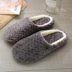 LEMETOW Adult Jacquard Suede Soft Bottom Cotton Slipper Indoor Anti-slip Casual Shoes