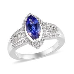 Shop LC Halo Ring Women 925 Sterling Silver Platinum Over AAA Blue Tanzanite Zircon Halo Ring Ct 1.4