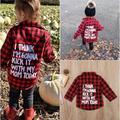 Fashion Cute Toddler Kids Baby Boy Girl Plaid Tops Shirt Long Sleeve T-shirt Clothes