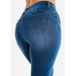 Womens Juniors Button Up Levanta Cola High Waisted Med Wash Denim Skinny Jeans 10484N