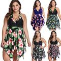 AYYUFE Women Plus Size Beach Flower Print Halter Swimdress Briefs Two-Piece Tankini Set