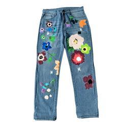 Women Casual Wide Leg Jeans Loose High Waist Floral Print Jeans Ripped Denim Pants