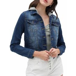 MixMatchy Women's Classic Button Closure Cropped Length Hooded Denim Jacket