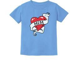 Tstars Boys Unisex Best Gift for Mother's Day Shirts Tee Mom Heart Tattoo Kids Cool Cute Gift for Mom Shirts for Boy Mothers Day Gift Toddler Infant Kids T Shirt