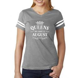Tstars Womens Birthday Gift for Women Queens Are Born in August Birthday Party B Day Women Football Jersey T Shirt