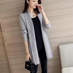 Korean Style woven jactket Dokotoo Womens Solid Casual Cozy Knit Loose Casual Solid Color Knit Cardigan Fashion Trend Long-sleeved Women's Coat