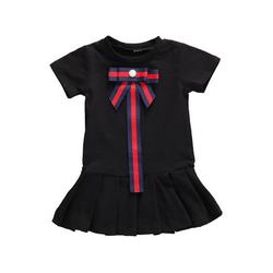Frecoccialo 0-5Y Toddler Kids Baby Girls Dreess Summer Short Sleeve Bowknot Pleated T-shirt Dresses Casual Princess Girls Clothes