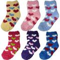 Debra Weitzner Warm Fuzzy Socks for Kids with Grippers No Skid Slipper Socks for Toddlers 6 Pairs With Grips Hearts 2-4 yr 6 Pairs