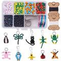 SUNNYCLUE 1 Box 1000+pcs DIY 10PCS Bead Pets Kit Kids Toy Arts and Crafts for Kids Include Keychain, Keyring & Lanyard Clips, Instruction