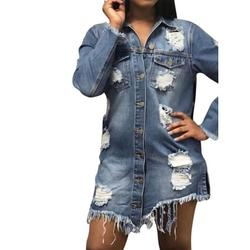 Women's Long Style Hole Patch Denim Ripped Distressed Denim Long Jacket Coat Long Sleeve Ripped Jean Denim Jacket Coat Coat Outwear