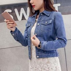 SweetCandy Boyfriend Jean Jacket Women Denim Jackets Vintage Long Sleeve Jacket Casual Slim Coat Candy Color Bomber Jacket