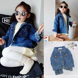 Girls Fall Jeans Jacket Long Sleeve Pocket Denim Jacket Coat Children Age 1-6Y