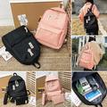Veryke 3Pcs Backpacks for Teenage Girls for School, Black/Pink Traveling Canvas Backpacks for Girls, Schoolbag Casual Daypack Satchel Rucksack Backpacks for Women