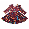 2020 Baby Spring Autumn Clothing Kids Toddler Baby Girls Long Sleeve Colorful Letter A line Dress Princess Christmas Party Dress