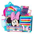 """Disney Minnie Mouse Backpack with Lunch Box for Girls 9 Pc Bundle ~ Deluxe 16"""" Minnie Bag, Lunch Bag, Water Bottle, Stickers, and More (Minnie Mouse School Supplies)"""