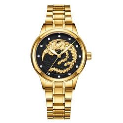 Non-mechanical Waterproof Luminous Watch Embossed Gold Dragon Watch Men's Steel Belt Quartz Watch;Men's Steel Belt Quartz Watch Luminous Watch Embossed Gold Dragon Watch