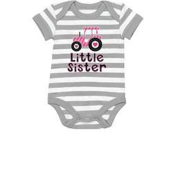 Tstars Girls Little Sister Newborn Clothes Gift for Little Sister Little Sister Cute Pink Tractor Cute Little Sister Shirt Baby Girl Baby Bodysuit