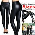 Women Skinny Faux Leather Stretchy Pants Leggings Pencil Tight Trousers Fashion Womens Ladies Black Wet Leggings High Waist Faux Leather Ladies Stretch Pant PVC Trousers stretch Tight Pant