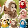 Winter Toddler Kids Girls Boys Warm Woolen Coif Hood Scarf Scarves Caps Hats
