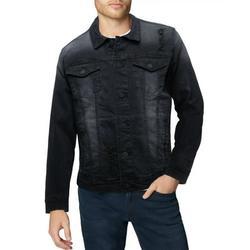 X RAY Mens Denim Jacket Washed Casual Trucker Jean Jacket for Men, Black Denim - Ripped, Medium