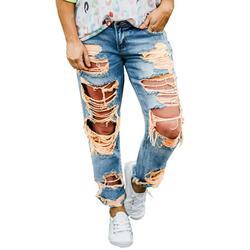 Summer Ripped Jeans for Women Sexy Casual Denim Pants Big Stretch Skinny Jeans Denim Pants Office Lounge Leisure Women Loungewear Jeans
