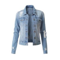 Women Casual Classic Denim Jean Jacket Oversize Vintage Distressed Ripped Denim Outwear Long Sleeve Boyfriend Denim Jacket Coat