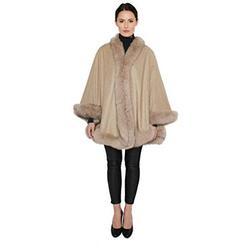 Cashmere Pashmina Group - Cashmere Cape with Fur Trim/Cashmere Cape/Cashmere Capes/Cape/Capes/Fur Cape/Fur Capes for women/Capes and Shawls/Fur Caplet/Caplet/Coat/Poncho/Shrug/Ruana (MO2NL-OATMEAL)