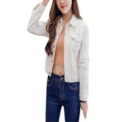 Short Denim Jacket for Women,Candy-colored Jacket,Fashion Women's Basic Button Down Denim Jacket
