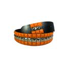 3-row Metal Pyramid Studded Leather Belt 2-tone Striped Punk Rock Goth Emo Biker - Orange With Silver Center / M