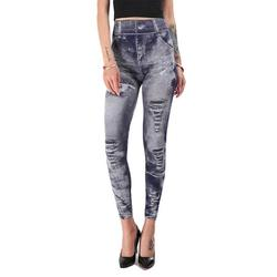 Ladies Skinny Jeans Stretch Jeans High Waisted Leggings Denim Print Distressed Jeans For Women Seamless Full Length Pencil Pants