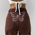 Women's Butterfly Print High Waist Straight Leg Jeans Y2K Baggy Denim Pants Harajuku Boyfriend Loose Trousers