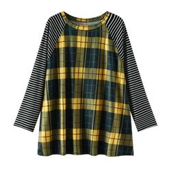 Tuscom Womens Casual Round Neck Long-sleeved Stitching Striped Plaid Top