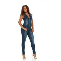 Cover Girl Denim Jumpsuit Jeans for Women Sleeveless Skinny Fit Overall Plus Size 20W Dark Blue Denim