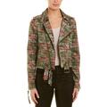 Nicole Miller Artelier MULTICOLOR Weathered Plaid Kalysie Moto Jacket, US Large