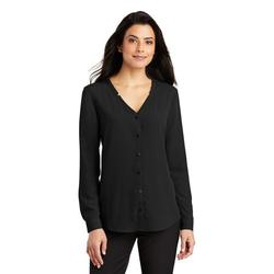Port Authority Womens Long Sleeve Button-Front Blouse