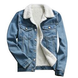 Aimik Women Denim Jacket with Fur Women Autumn Winter Denim Jacket Warm Upset Vintage Long Sleeve Loose Jeans Coat Outwear