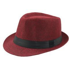Mchoice Breathable Linen Top Hat Curly Brim Straw Hat Outdoor Sun Hat Summer Beach Hat Fedora Jazz Hat for Men