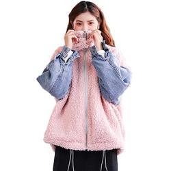 Bescita Women's Winter Casual Loose Lambswool Denim Stitching Padded Jacket Coat