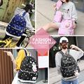 Veryke 4Pcs Backpacks for Teenage Girls for School, Dark Blue Rabbit Print Canvas Backpacks for Girls, Large Capacity Traveling Satchel Rucksack Backpacks for Women