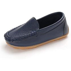 E-FAK Toddler Boys Girls Loafer Shoes Soft Synthetic Leather Slip On Moccasin Flat Boat Dress Shoes(Toddler/Little Kid/Big Kid)