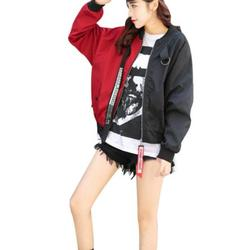 Casual Bomber Jacket Color Block Women Two Tone Patch Back Autumn Jackets Letter Ribbon Zip Up Jacket