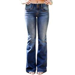 Sexy Dance New Wide Leg Bell Flared Skinny Denim Jeans For Women Ladies Full Lenght Flared Bottom Casual Retro Bootcut Slim Fit Hight Waist Denim Trouser Pants