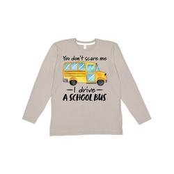 Inktastic You Dont Scare Me- I Drive a School Bus Adult Long Sleeve T-Shirt Male Titanium Grey XL