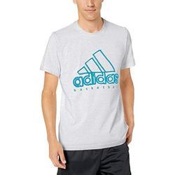 adidas Men's Wanted Basketball Logo Tee, Light Grey Heather, XX-Large