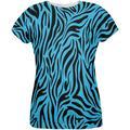 Zebra Print Blue All Over Womens T-Shirt - Small