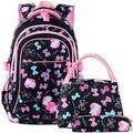Vbiger Nylon Kids Backpack Set 3pcs Casual School Bag for Teenage Girls & Boys (Black)
