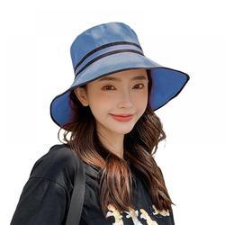 Outdoor Travel Bucket Hat for Women Color Matching Brim Summer Japanese Style Sunshade Sun Hat Big Hat Outdoor Beach Sun Folding, Blue