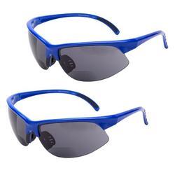 2 Pair of Unisex Bifocal Sport Wrap Sunglasses - Outdoor Reading Sunglasses - Blue/Blue - 2.50