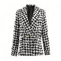 GMBEAUTY Fashion Women's Tweed Jackets Autumn Vintage Thick Plaid Coats Girls Chic Coats